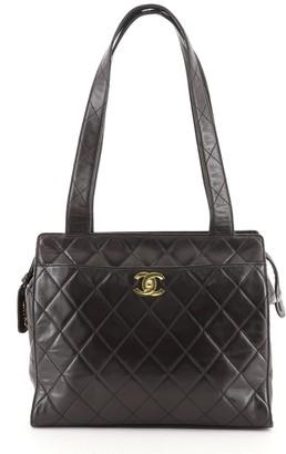 Chanel CC Front Pocket Shoulder Bag Quilted Lambskin Medium