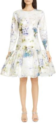Rodarte Floral Sequin Drop Waist Long Sleeve Dress
