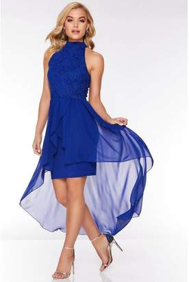 Quiz Royal Blue Glitter Lace High Neck Dip Hem Dress