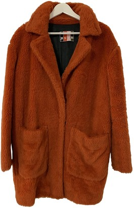 MSGM Orange Faux fur Coat for Women