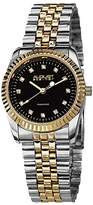 August Steiner Women's AS8046TTG Diamond Accented Black Dial Silver & Yellow Gold Bracelet Watch