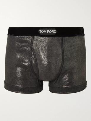 Tom Ford Velvet-Trimmed Metallic Stretch-Cotton Jersey Boxer Briefs