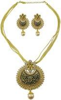 Matra Gold Tone CZ Stone Designer Set of 2 Pcs Pendant Necklace Set Women Party Jewelry