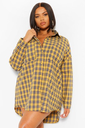boohoo Plus Boyfriend Check Oversized Shirt Dress