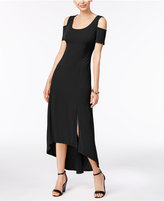 NY Collection Petite Cold-Shoulder High-Low Maxi Dress