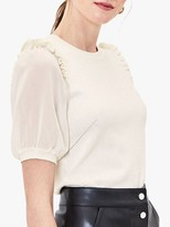 Oasis Contrast Sleeve Jumper, Off White