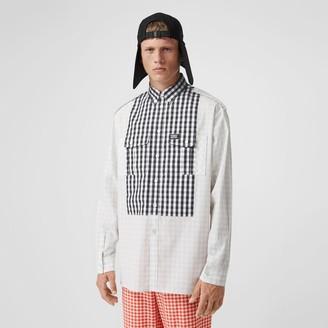 Burberry Contrast Bib Gingham Cotton Poplin Oversized Shirt