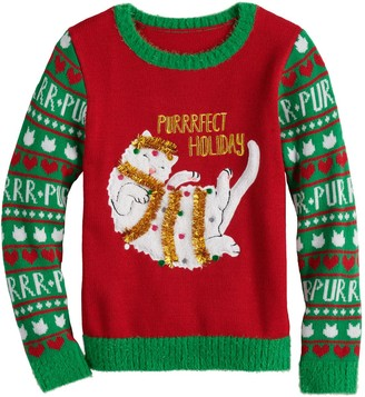 It's Our Time Girls 7-16 Purrrfect Holiday Sweater