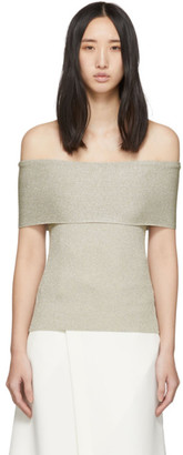 3.1 Phillip Lim Off-White Lurex Off-The-Shoulder Pullover