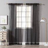 "Best Home Fashion Jacquard Sheer Lace Lovely Dot Curtains - Rod Pocket - Black - 58""W x 84""L - (Set of 2 Panels)"