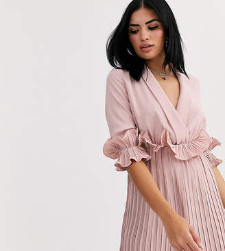 PrettyLittleThing pleated mini dress with frill detail in pale pink