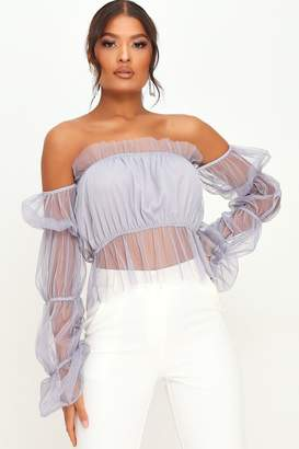 I SAW IT FIRST Blue Mesh Ruffle Top