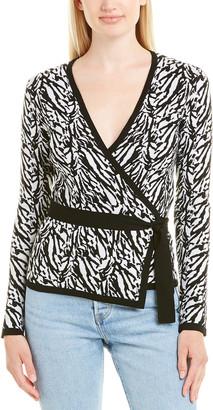 Diane von Furstenberg V-Neck Wool-Blend Wrap Top
