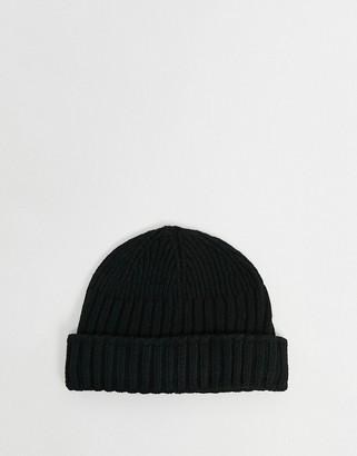 ASOS DESIGN new mini fisherman rib beanie hat in recycled polyester in black