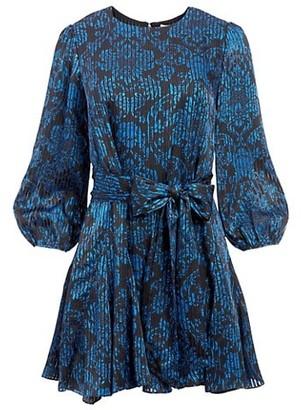 Alice + Olivia Mina Puff-Sleeve Godet Belted Dress