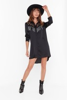 Nasty Gal Womens Lace Get This Party Started Fringe Shirt Dress - black - 4, Black