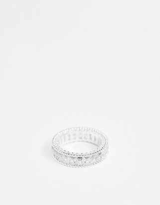 ASOS DESIGN ring with baguette cubic zirconia stones in silver tone