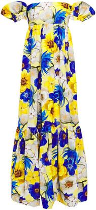 Borgo de Nor Antigone Off-the-shoulder Floral-print Cotton-blend Faille Maxi Dress