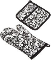 DII 100% Cotton, Machine Washable, Everyday Kitchen Basic, Damask Printed Oven Mitt and Pot Holder Gift Set, Black
