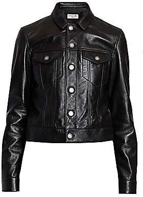 Saint Laurent Women's Leather Trucker Jacket