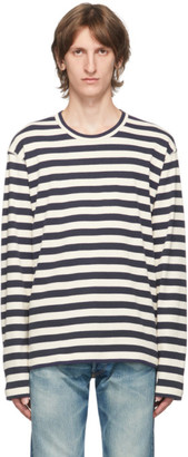 Junya Watanabe Blue and White Stripe Long Sleeve T-Shirt