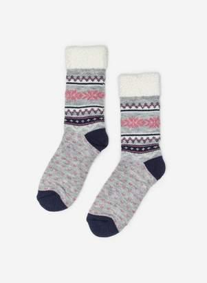 Dorothy Perkins Womens Grey Fairisle Cosy Socks, Grey