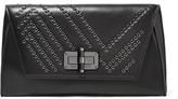 Diane von Furstenberg Gallery Uptown Eyelet-embellished Leather Clutch - Black
