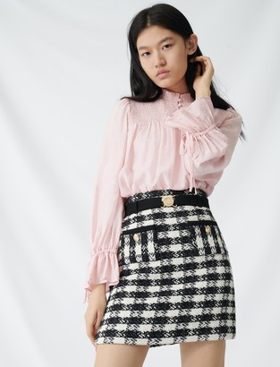 Maje Tweed-style skirt with monogrammed belt