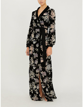 Myla Hyde Park floral-print velvet dressing gown