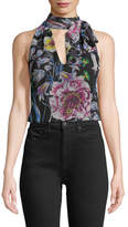 Prabal Gurung V-Neck Sleeveless Floral-Print Blouse with Scarf