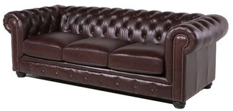 "Three Posts Brinson Genuine Leather Chesterfield 95"" Rolled Arm Sofa Fabric: Chocolate Brown"