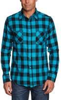 Urban Classics Men's Checked Flanell Shirt - T-Shirt - Multicoloured (Blk/Tur), (Manufacturer size: )