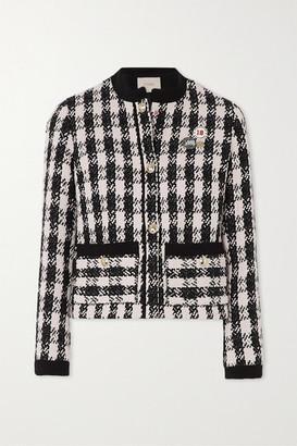 Maje Vicky Houndstooth Cotton-blend Tweed Jacket - Black