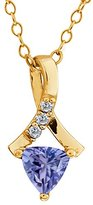 Gem Stone King 0.43 Ct Trillion Blue Tanzanite and White Diamond 18k Yellow Gold Pendant