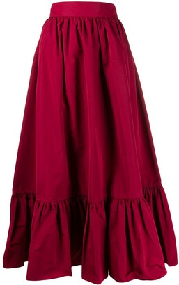 Valentino pleated hem A-line skirt