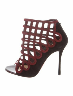 Christian Louboutin Suede Cutout Accent Sandals w/ Tags Red
