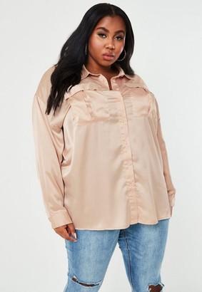 Missguided Size Champagne Satin Extreme Oversized Shirt