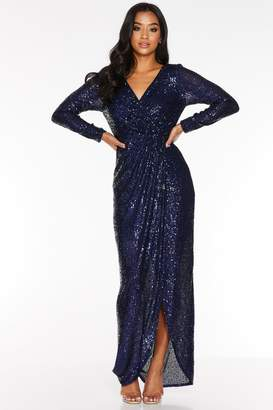 Quiz Petite Navy Sequin Long Sleeve Wrap Maxi Dress
