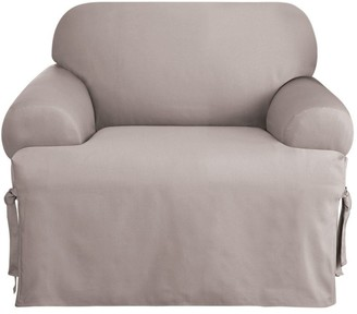 Sure Fit Solid Duck ClothT-Cushion Chair Slipcover