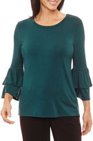 Sag Harbor Ruffles 3/4 Sleeve Crew Neck Knit Blouse