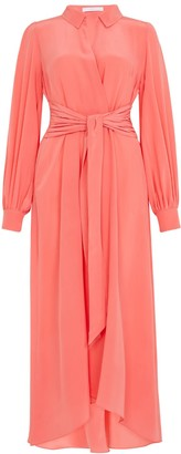 Ethereal London Aria Plain Coral Midi Shirt Dress
