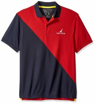 Nautica Men's Tall Short Sleeve Performance Knit Polo Stripe Series Shirt