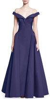 Zac Posen Off-the-Shoulder Silk Taffeta Gown, Violet