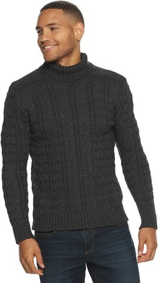 X-Ray Men's Xray Turtleneck Cable Knit Sweater