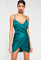 Missguided Teal Silky Wrap Dress