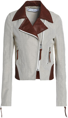 J.W.Anderson Leather-trimmed Cotton-jacquard Biker Jacket