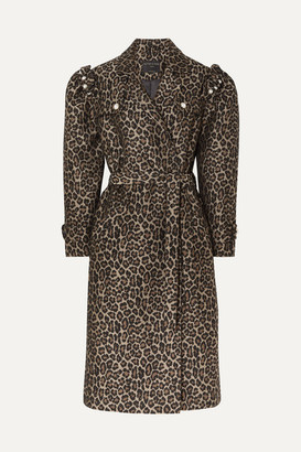 Mother of Pearl Felix Faux Pearl-embellished Jacquard Coat - Leopard print