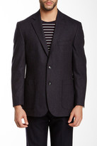 Kroon Pegasus Eggplant Woven Two Button Peak Lapel Wool-Blend Jacket