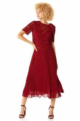 Roman Originals Women Lace Pleated Dress - Ladies Swing Skater Midi Ball Gown Cotton Special Occasion Party Formal Wedding Guest Mother of The Bride Groom Fit and Flare - Navy - Size 14