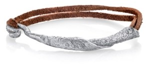 T.r.u. by 1928 Pewter Tone Rolled Bangle on Leather